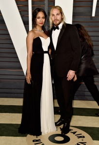BEVERLY HILLS, CA - FEBRUARY 22:  Actress Zoe Saldana (L) and director Marco Perego attend the 2015 Vanity Fair Oscar Party hosted by Graydon Carter at Wallis Annenberg Center for the Performing Arts on February 22, 2015 in Beverly Hills, California.  (Photo by Pascal Le Segretain/Getty Images)